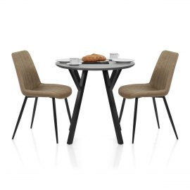 Wessex Dining Set Grey Wood & Brown