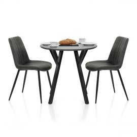 Wessex Dining Set Grey Wood & Charcoal