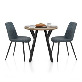 Wessex Dining Set Oak & Blue