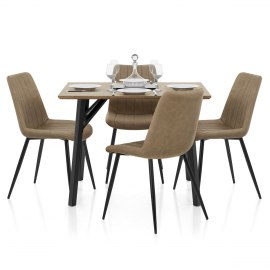 Warwick Dining Set Oak & Brown