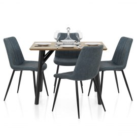 Warwick Dining Set Oak & Blue