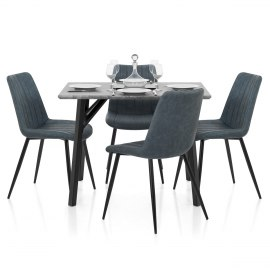Warwick Dining Set Concrete & Blue