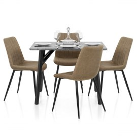 Warwick Dining Set Concrete & Brown