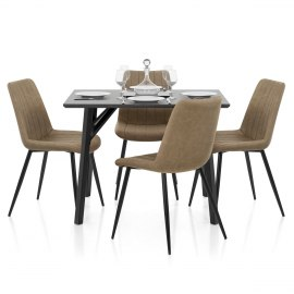 Warwick Dining Set Grey Wood & Brown