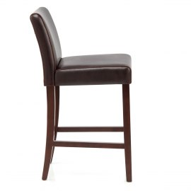Stratos Walnut Stool Brown Leather