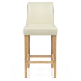 Stratos Oak Stool Cream Leather