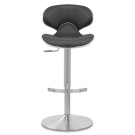 Deluxe Duo Leather Brushed Stool Black