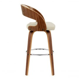 Alicia Walnut Bar Stool Cream