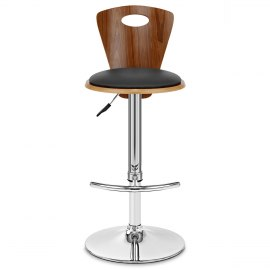 Trilogy Leather Stool Walnut & Black