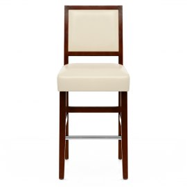 Jasper Leather Bar Stool Walnut & Cream