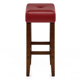Otis Walnut Bar Stool Red