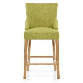 Magna Oak & Green Fabric Bar Stool