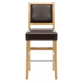 Jasper Leather Bar Stool Oak & Brown