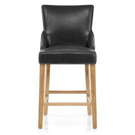 Magna Oak & Black Faux Leather Stool