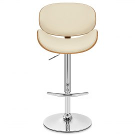 Theo Walnut Bar Stool Cream Leather