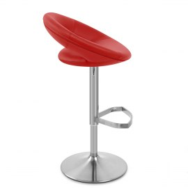Brushed Crescent Stool Red