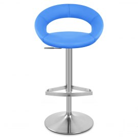 Brushed Crescent Stool Blue