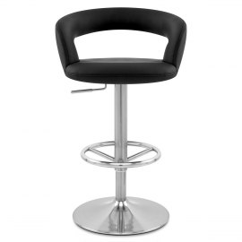 Monza Brushed Steel Bar Stool Black