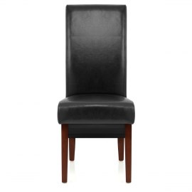 black wood dining chair. Sale Carlo Walnut Chair Black Leather Wood Dining
