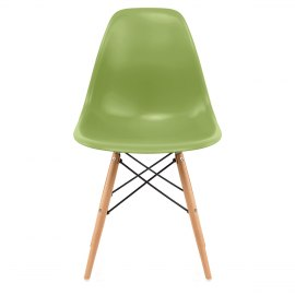 Eames Style Wooden Chair & Satin Green