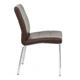 Chrome Breakfast Dining Chair Brown