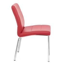 Chrome Breakfast Dining Chair Red