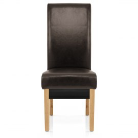 Carlo Oak Chair Brown Leather
