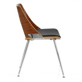 Karma Walnut Dining Chair Black Leather
