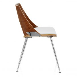 Karma Walnut Dining Chair White Leather