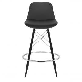 Vibe Chrome & Satin Stool Black