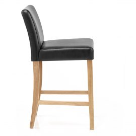 Stratos Oak Stool Black Leather