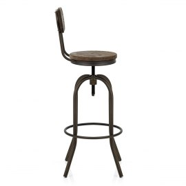 Vintage Swivel Stool Dark Wood