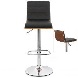 Riviera Walnut Bar Stool Black