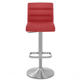 Lush Brushed Steel Bar Stool Red