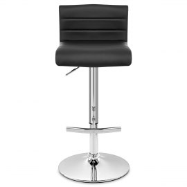 Style Real Leather Bar Stool Black