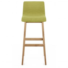 Green Fabric Seat Wood Frame Bar Stools