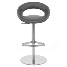 Real Leather Crescent Bar Stool Grey