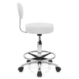 Swivel Stool With Back White