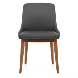 Jersey Chair Walnut & Grey Faux Leather