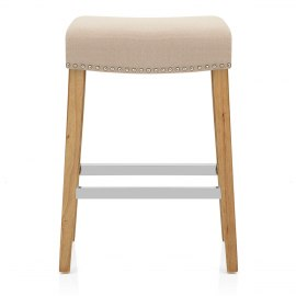 Audley Oak Bar Stool Beige Fabric