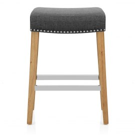Audley Oak Bar Stool Charcoal Fabric