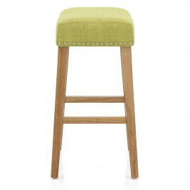 Audley Oak Bar Stool Green Fabric