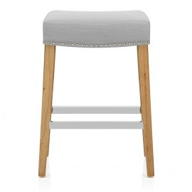 Audley Oak Bar Stool Grey Fabric
