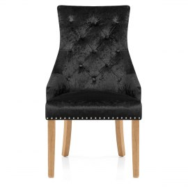 Ascot Oak Dining Chair Black Velvet