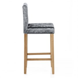 Brookes Oak Stool Dark Grey Velvet