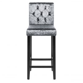 Brookes Bar Stool Dark Grey Velvet