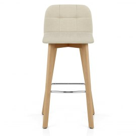 Hex Wooden Stool Cream Fabric