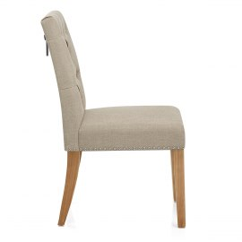 Barrington Oak Dining Chair Cream Fabric