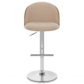 Focus Walnut Stool Beige Fabric