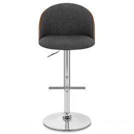 Focus Walnut Stool Charcoal Fabric